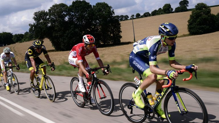 Dion Smith leads the breakaway group of five that spent most of stage six several minutes ahead of the peloton