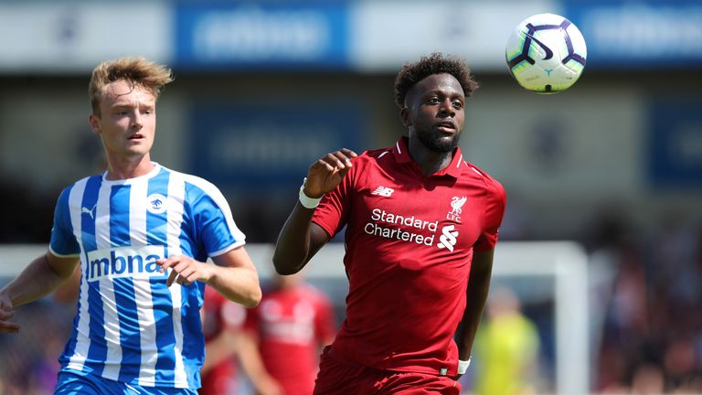 Divock Origi and Jon Moran during Saturday's friendly