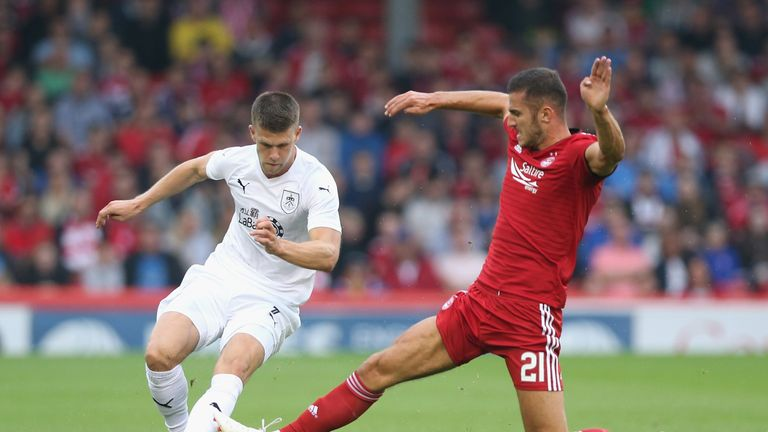 during the UEFA Europa League Second Qualifying Round 1st Leg match between Aberdeen and Burnley at Pittodrie Stadium on July 26, 2018 in Aberdeen, Scotland.