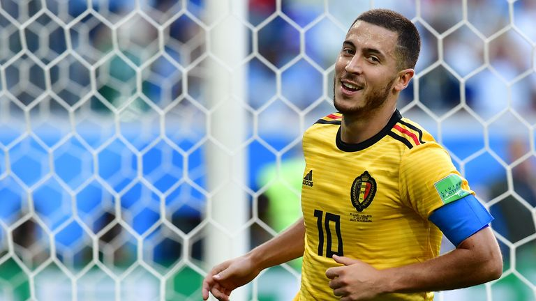 Eden Hazard celebrates putting Belgium 2-0 up against England
