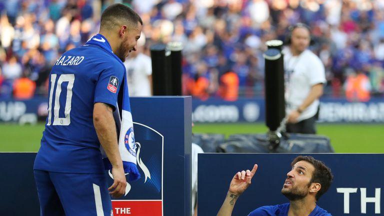 Eden Hazard and Cesc Fabregas after the FA Cup final last season