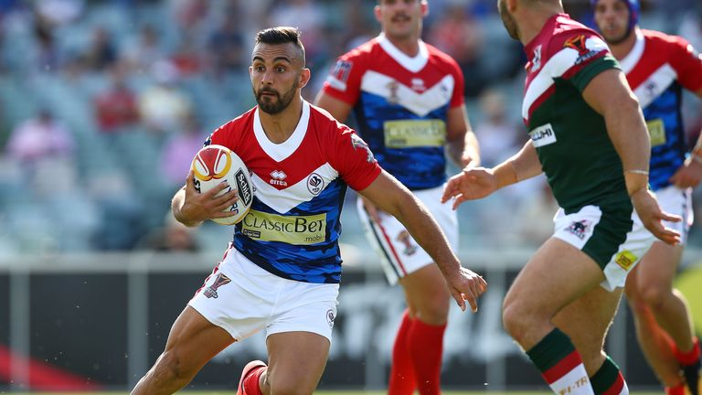 Eloi Pelissier in action for France during the 2017 Rugby League World Cup