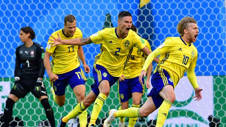 Emil Forsberg's deflected strike saw Sweden past Switzerland in the last 16