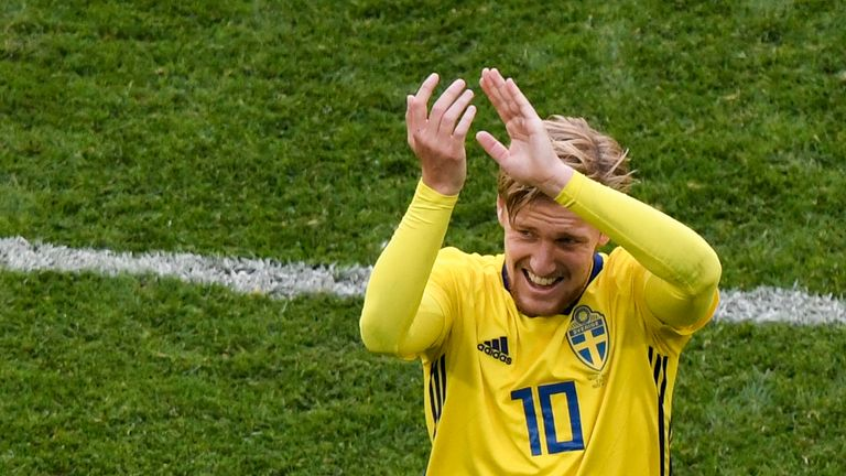 Emil Forsberg applauds supporters as he leaves the pitch in the second-half