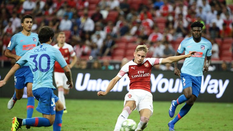 Emile Smith Rowe during the International Champions Cup 2018 match between Club Atletico de Madrid and Arsenal at the National Stadium on July 26, 2018 in Singapore.