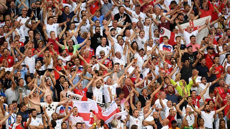 England fans show their support against Sweden at Samara Arena