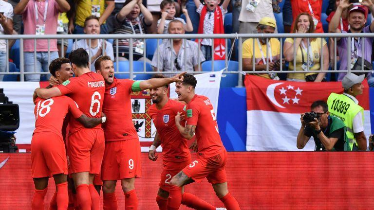England celebrate Dele Alli's goal against Sweden