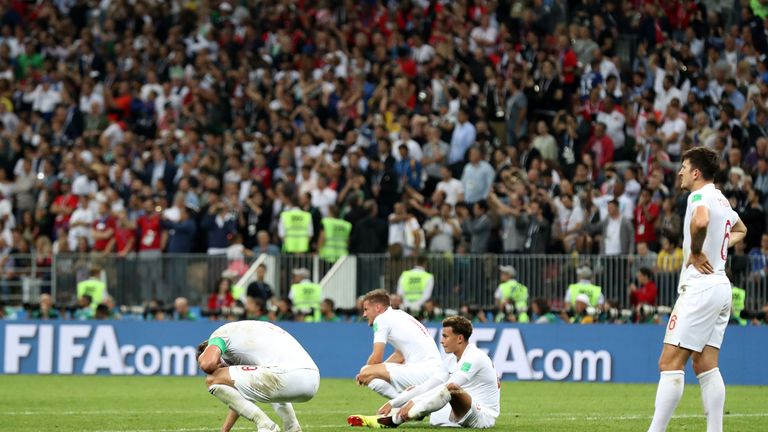 England players at full-time following their 2-1 loss to Croatia in  the 2018 World Cup semi-final