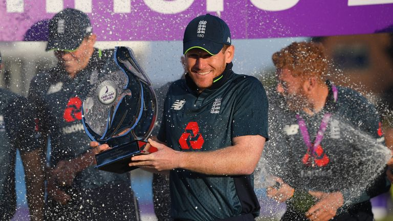 Eoin Morgan after the 3rd ODI Royal London One Day match between England and India at Headingley on July 17, 2018 in Leeds, England.