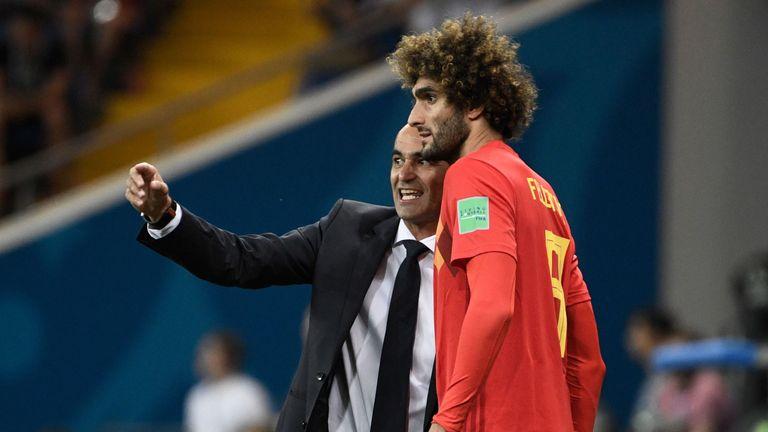 Roberto Martinez issues instructions to Marouane Fellaini