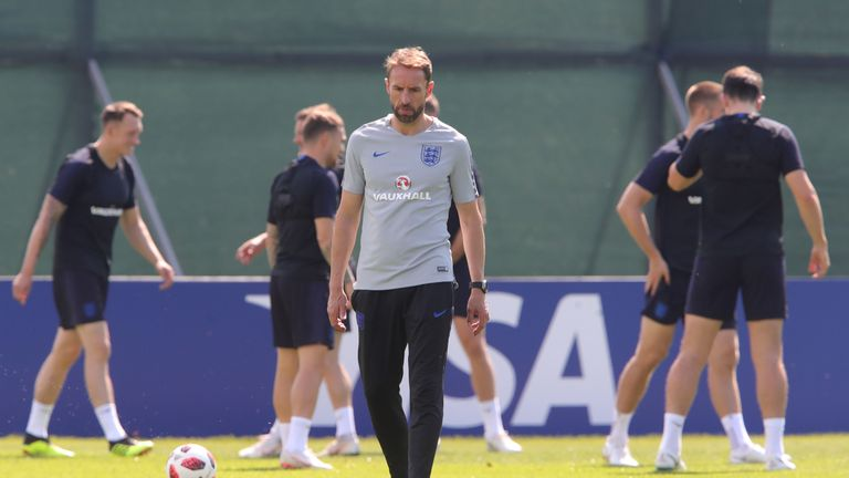 Gareth Southgate appears thoughtful during an England training session on July 13, 2018