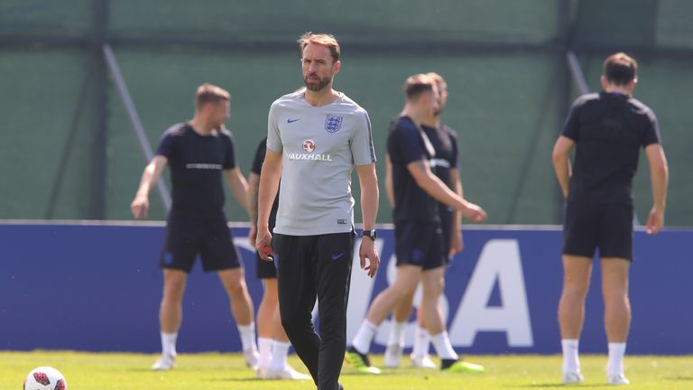 during an England training session during the 2018 FIFA World Cup Russia at Spartak Zelenogorsk Stadium on July 13, 2018 in Saint Petersburg, Russia.