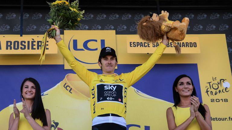Geraint Thomas is in yellow as the overall leader