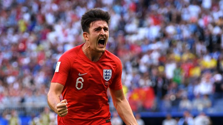 Harry Maguire of England celebrates after scoring his team's first goal during the 2018 FIFA World Cup Russia Quarter Final match between Sweden and England at Samara Arena on July 7, 2018 in Samara, Russia.