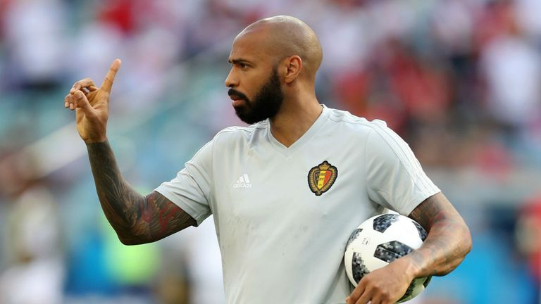 Thierry Henry, Assistant Coach of Belgium gives his team instructions ahead of the 2018 FIFA World Cup Russia group G match between Belgium and Panama at Fisht Stadium on June 18, 2018 in Sochi, Russia.