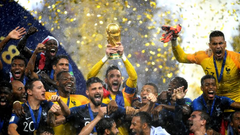 France captain Hugo Lloris lifts the World Cup trophy after the 4-2 defeat of Croatia