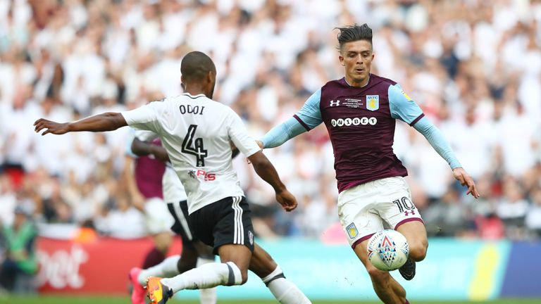 Jack Grealish during the Sky Bet Championship Play Off Final between Aston Villa and  Fulham at Wembley Stadium on May 26, 2018 in London, England.