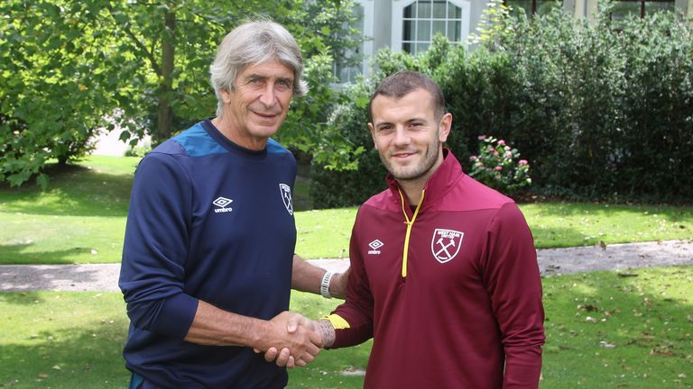 Jack Wilshere meets new boss Manuel Pellegrini after signing a three-year deal at the London Stadium