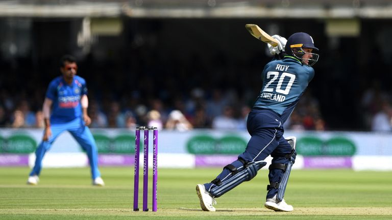Jason Roy during the 2nd ODI Royal London One Day International match between England and India at Lord's