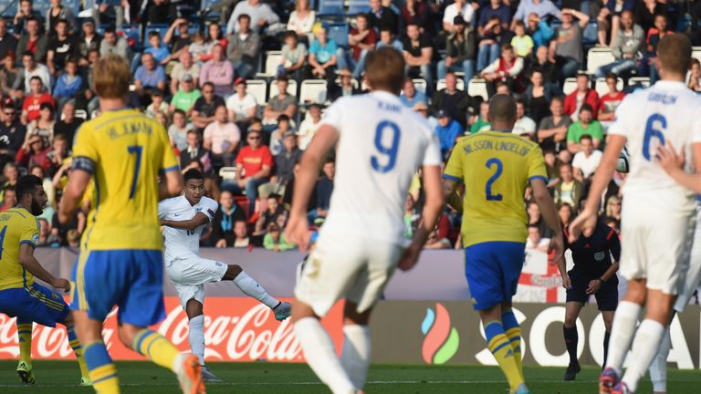 Jesse Lingard scores as Harry Kane looks on during the UEFA Under-21 European Championship 2015 match between Sweden and England at Andruv Stadium on June 21, 2015 in Olomouc, Czech Republic.
