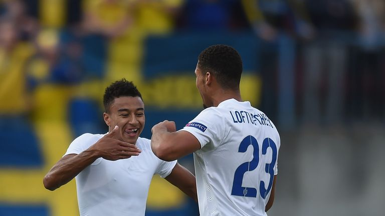 Jesse Lingard and Ruben Loftus-Cheek during the UEFA Under-21 European Championship 2015 match between Sweden and England at Andruv Stadium on June 21, 2015 in Olomouc, Czech Republic.