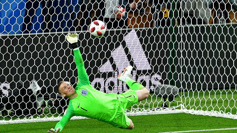 England goalkeeper Jordan Pickford saves a penalty by Colombia forward Carlos Bacca during the shootout