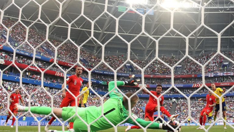 Jordan Pickford of England makes a save during the 2018 FIFA World Cup Russia Quarter Final match between Sweden and England at Samara Arena on July 7, 2018 in Samara, Russia