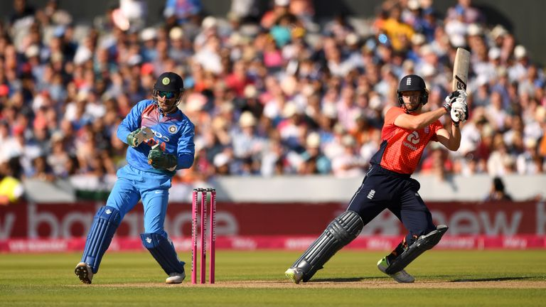 Jos Buttler played a lone hand in England's innings, hitting 69
