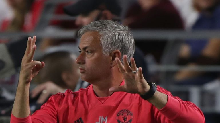 Jose Mourinho issues instructions during Manchester United's pre-season tour of America