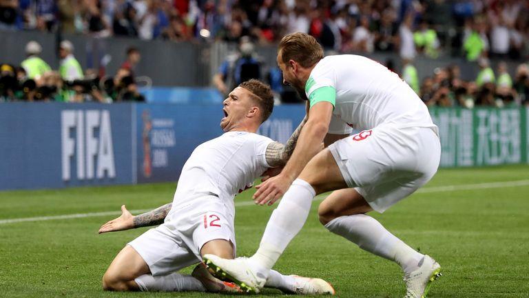 Kieran Trippier celebrates his early goal with Harry Kane