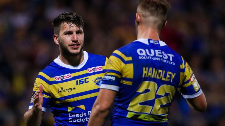 Tom Briscoe and Ash Handley celebrate Leeds first win in nine games