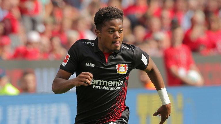 Leon Bailey in action for Bayer Leverkusen during the Bundesliga match against Hannover at BayArena on May 12, 2018
