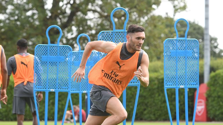 Lucas Perez during a training session at London Colney on July 4, 2018