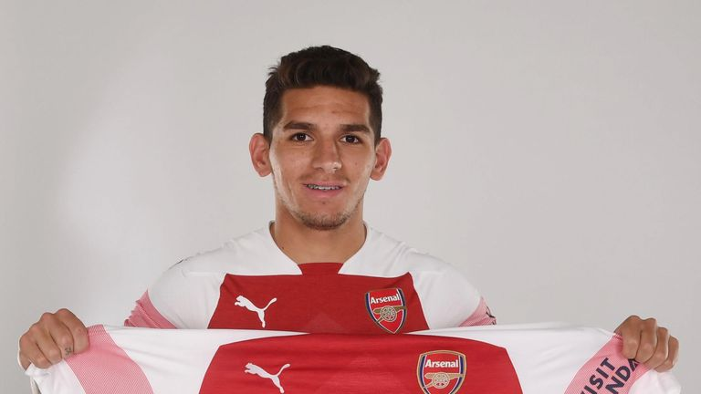 Arsenal unveil new signing Lucas Torreira at London Colney on July 10, 2018