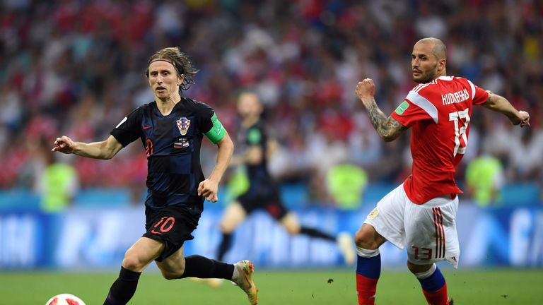 Luka Modric during the 2018 FIFA World Cup Russia Quarter Final match between Russia and Croatia at Fisht Stadium on July 7, 2018 in Sochi, Russia.