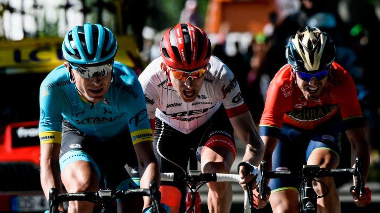 Nielsen, Netherlands' Bauke Mollema and Spain's Jon Izagirre ride during their breakaway