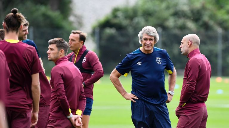 Manuel Pellegrini takes his first training session as West Ham boss