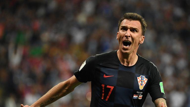 Mario Mandzukic celebrates his winning goal for Croatia