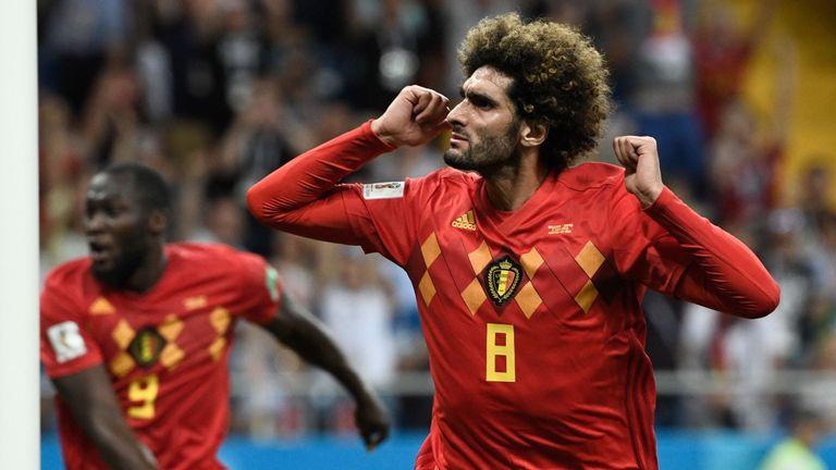 Marouane Fellaini celebrates after equalising for Belgium against Japan