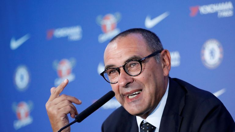 Chelsea's newly appointed manager, Maurizio Sarri, speaks during his unveiling at Stamford Bridge