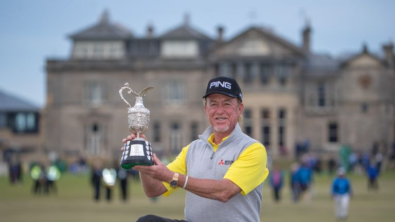 Jimenez celebrates after winning the Senior Open at St Andrews last year