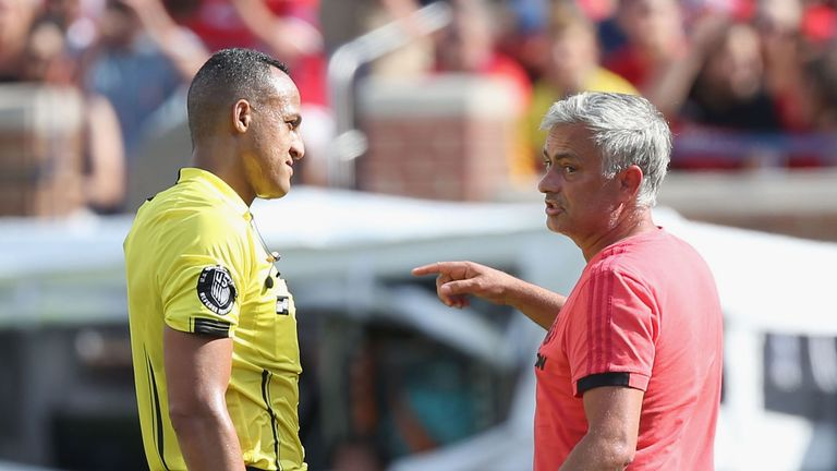 Jose Mourinho was unimpressed by the performance of the referee in Michigan