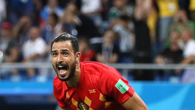 Nacer Chadli celebrates after scoring Belgium's winner against Japan