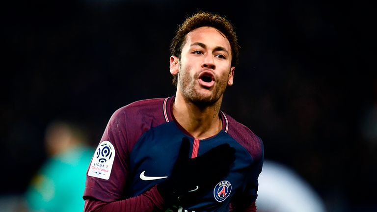 Neymar celebrates after scoring during the Ligue 1 match between Paris Saint-Germain and Troyes on November 29, 2017