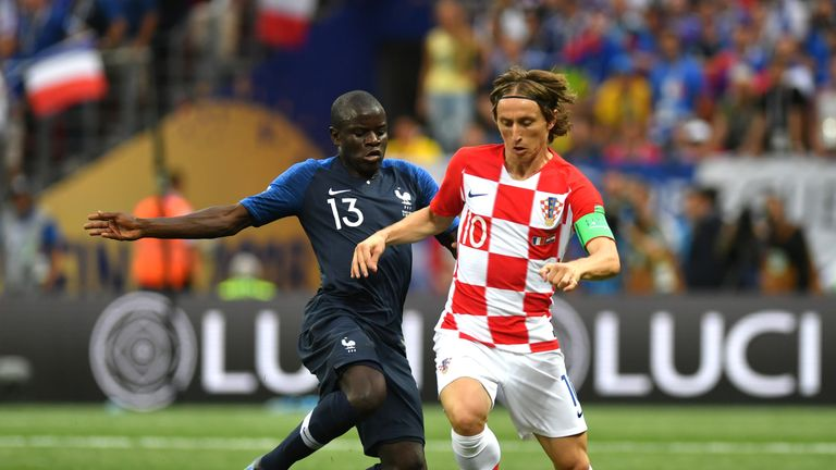 N'Golo Kante challenges Luka Modric in the World Cup final