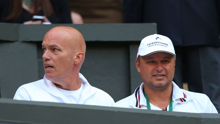 Fitness coach Gebhard Phil-Gritsch (left) and coach Marian Vajda will stay on with Djokovic until the end of the year