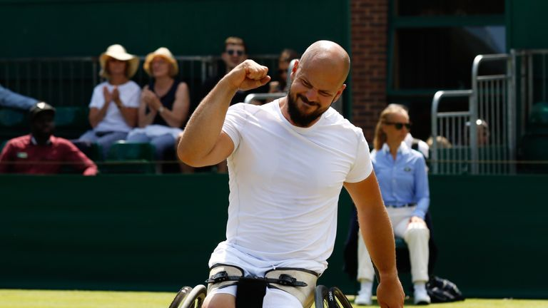 Stefan Olsson successfully defended his Wimbledon wheelchair singles title - Credit: Anna Vasalaki