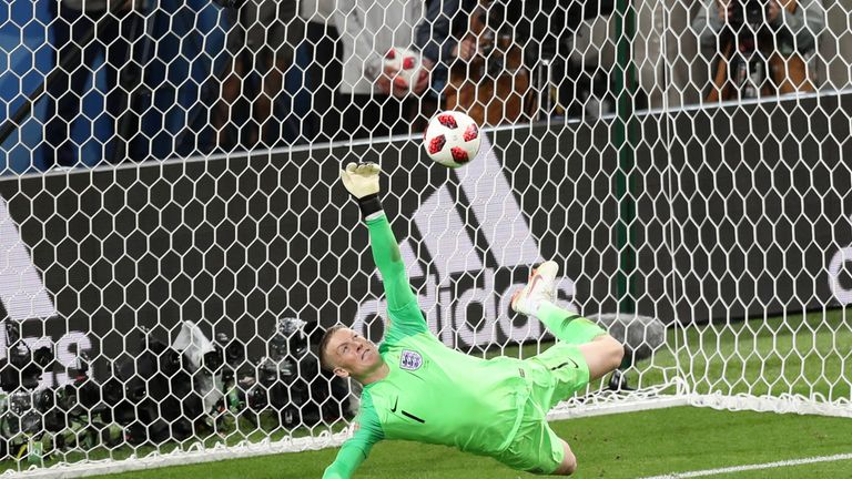 Jordan Pickford saves a penalty during the 2018 FIFA World Cup Russia Round of 16 match between Colombia and England at Spartak Stadium on July 3, 2018 in Moscow, Russia.