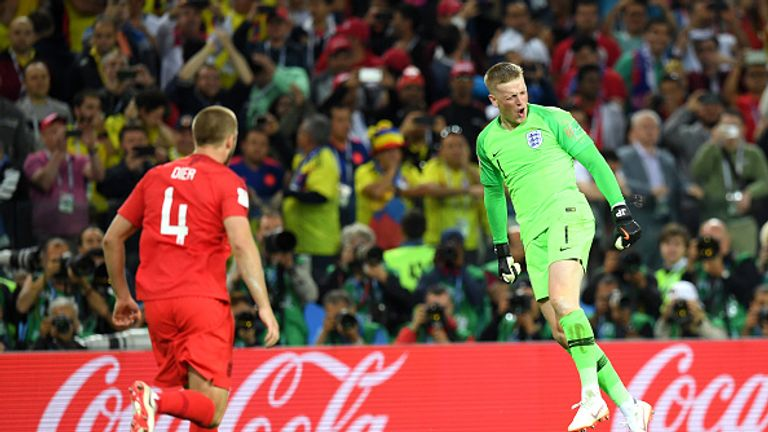 Pickford saved Carlos Bacca's penalty in England's shootout win over Colombia