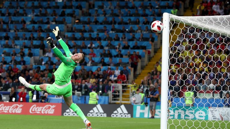 Jordan Pickford pulled off one of the saves of the tournament against Colombia